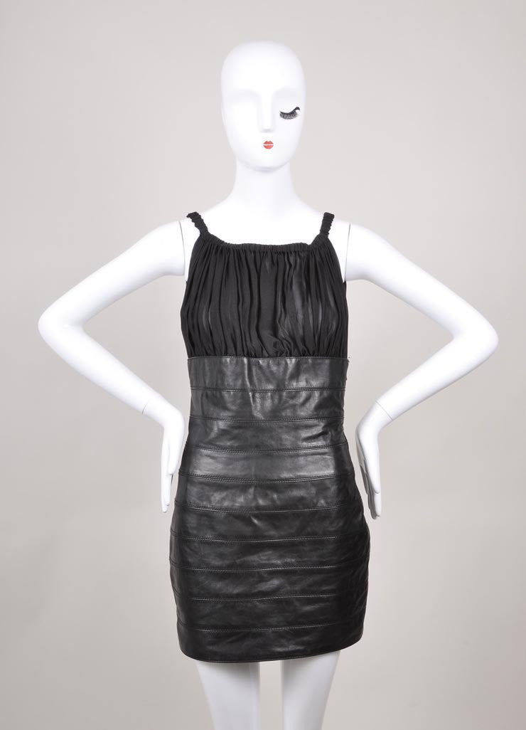 Dsquared2 Black Silk and Leather Gathered Bust Dress