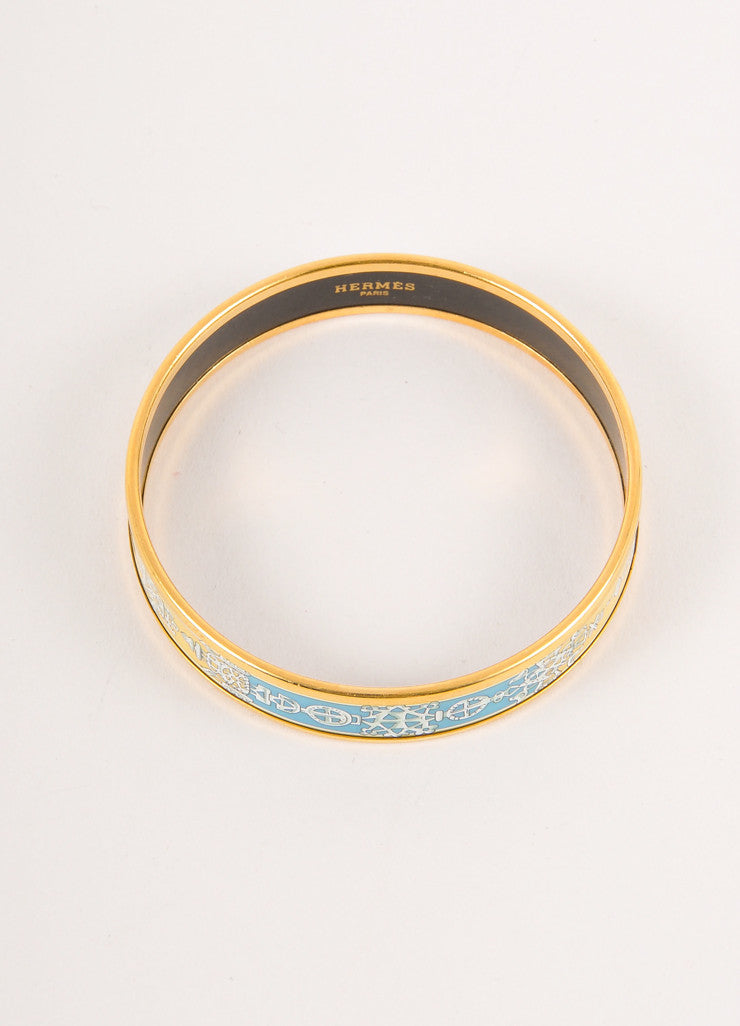 Yellow, Blue, and Gold Printed Enamel Bangle Bracelet