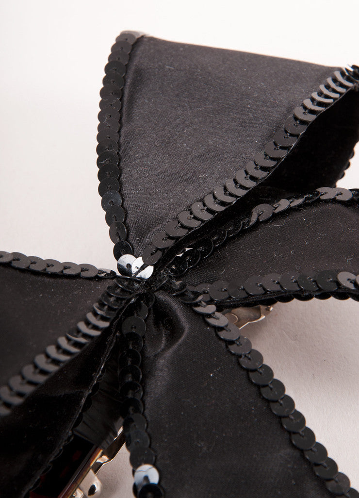 Black Sequin Embellished Oversized Hair Bow