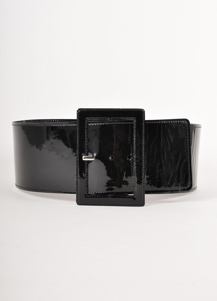 Black Patent Leather Wide Belt