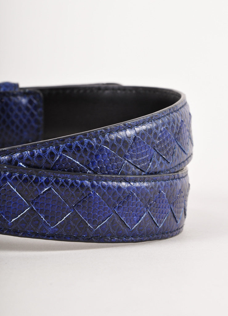 Black and Navy Snakeskin Belt