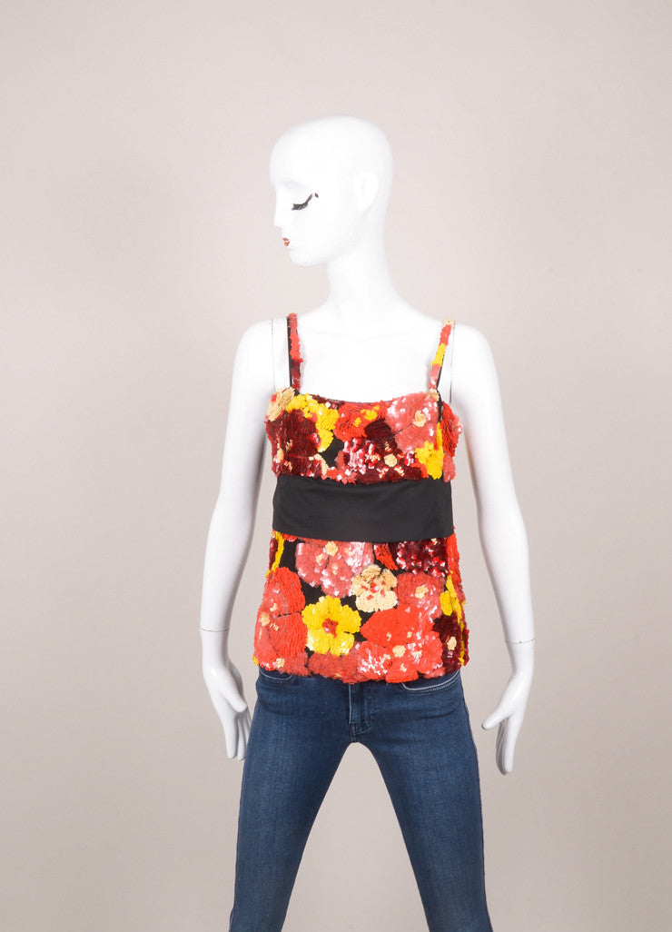 Red, Yellow, and Black Sequin Embellished Backless Tank Top