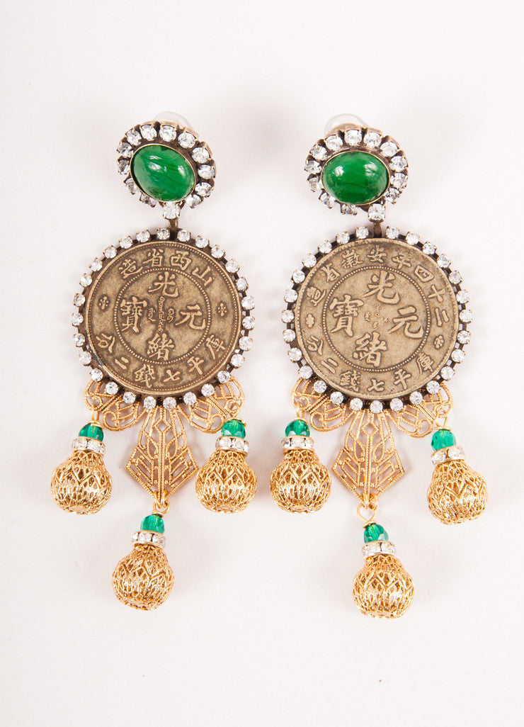 Gold and Green Coin and Crystal Drop Earrings