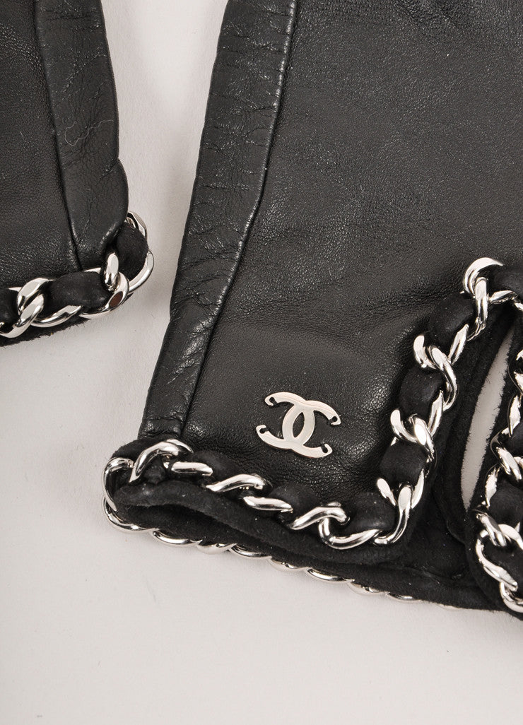 "New Black Leather Fingerless Gloves With Silver Chain and ""CC"" Logo Detail"