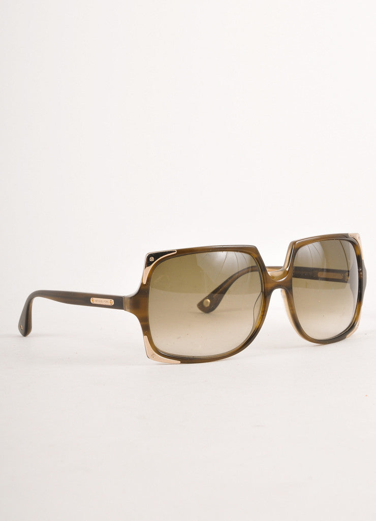 Brown and Grey Square Sunglasses With Gold Toned Metal Corners