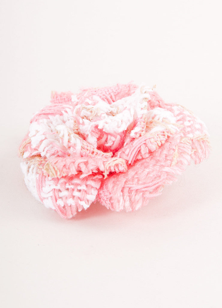 "Pink and White Tweed ""Camellia"" Pin"