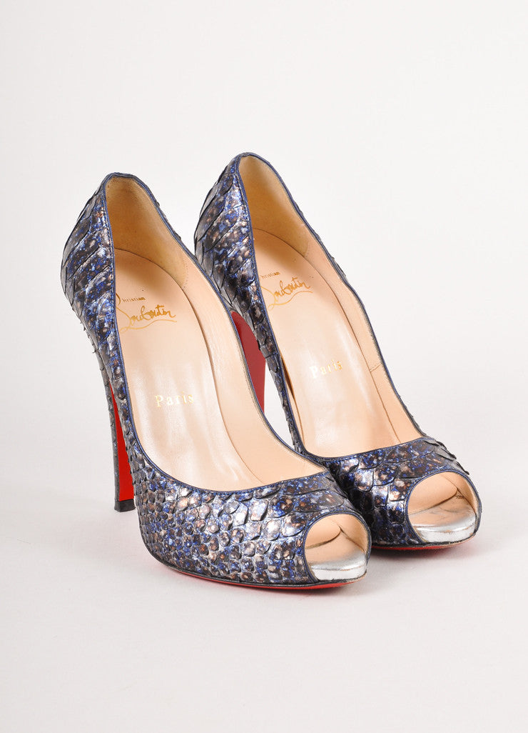 Blue and Grey Snakeskin Peep Toe Pumps