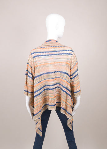 Blue, Green, and Orange Metallic Draped Three Quarter Sleeve Open Front Sweater