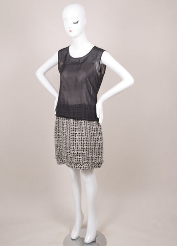Chanel Black and White Silk Chiffon Metallic Tweed Sleeveless Sheath Dress Sideview