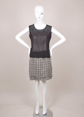 Chanel Black and White Silk Chiffon Metallic Tweed Sleeveless Sheath Dress Frontview