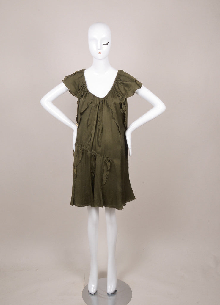 Army Green Silk, Cotton, and Cashmere Ruffle Trapeze Dress