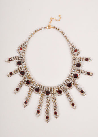 Dark Red and Clear Rhinestone Drippy Evening Choker Necklace