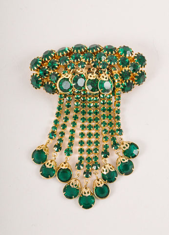 Green and Gold Toned Dangling Rhinestone Cluster Embellished Pin Brooch