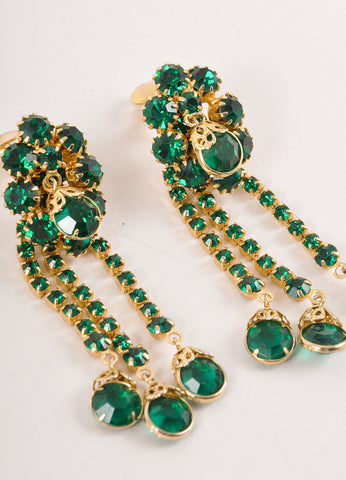 Green and Gold Toned Dangling Rhinestone Cluster Earrings