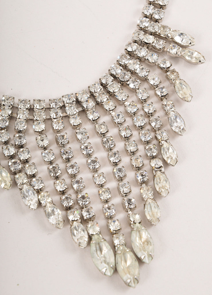 Vintage Silver Toned and Clear Round and Marquise Rhinestone Dangle Bib Necklace