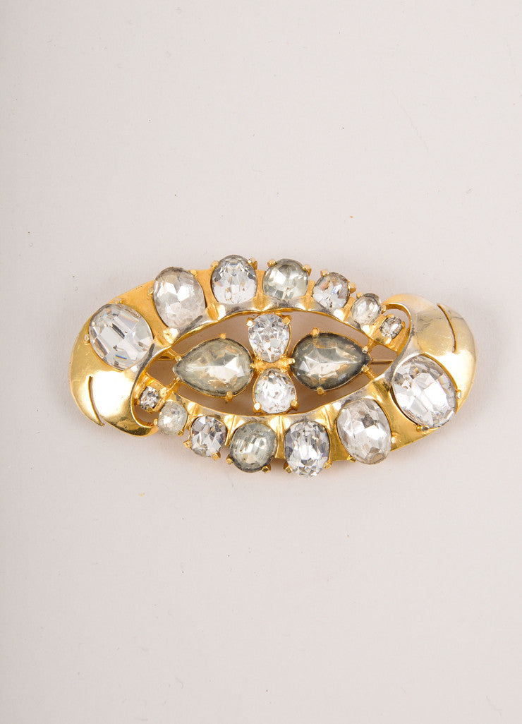 Gold Toned and Clear Rhinestone Embellished Large Pin Brooch