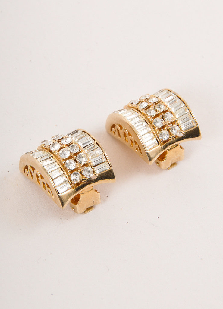 Gold Toned and Clear Rhinestone Embellished Half Circle Earrings