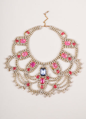 Clear, Pink, and Grey Rhinestone Festoon Bib Statement Necklace