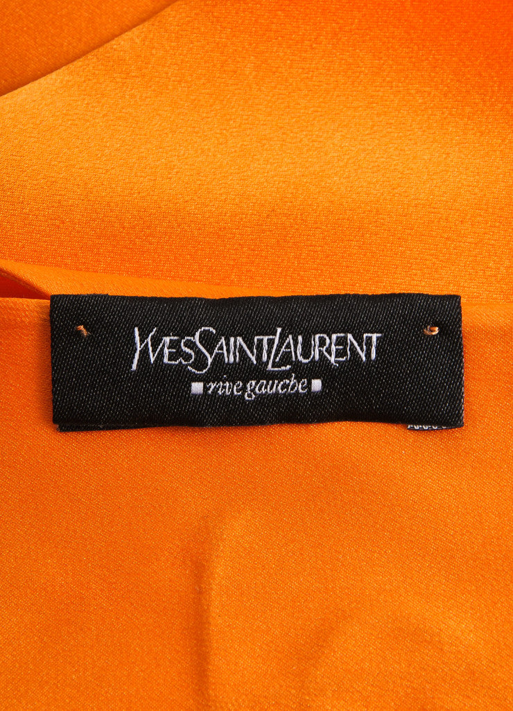 "Orange ""YSL"" Stitched Silk Sash Scarf"
