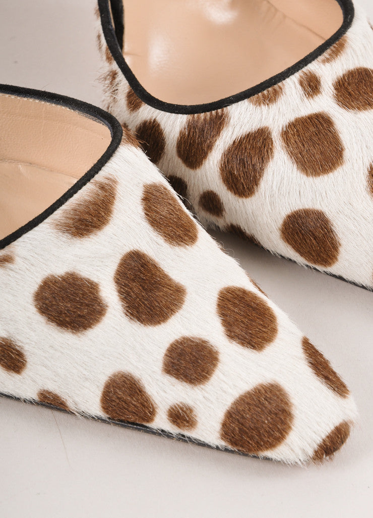 Brown, Cream, and Black Spotted Pony Hair Ankle Strap Pumps