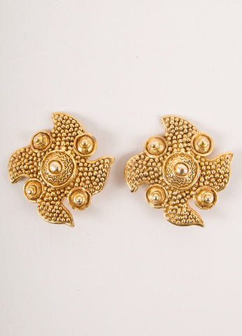 Large Textured Gold Toned Four Point Earrings