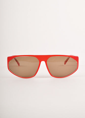 Red and Gold Crosshatch Print Sunglasses