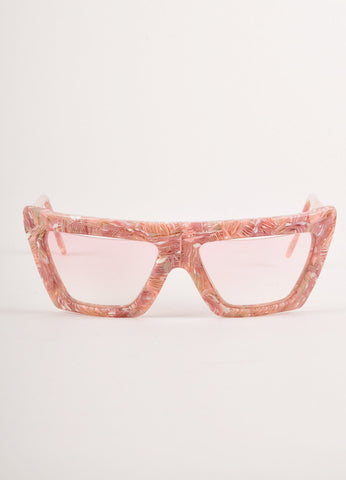 Pink and White Marbled Geometric Sunglasses