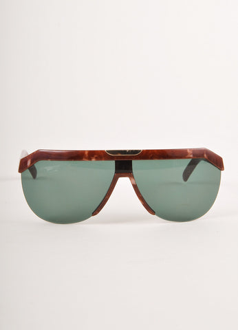 Brown Marbled Shield Sunglasses