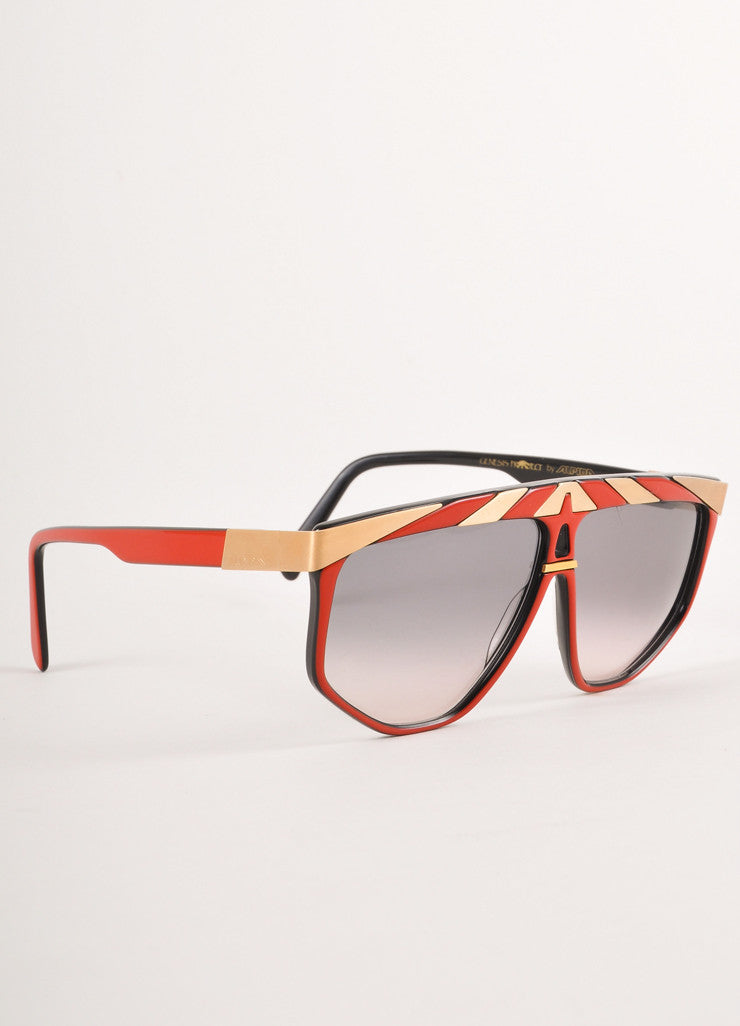Gold and Red Geometric Shield Sunglasses