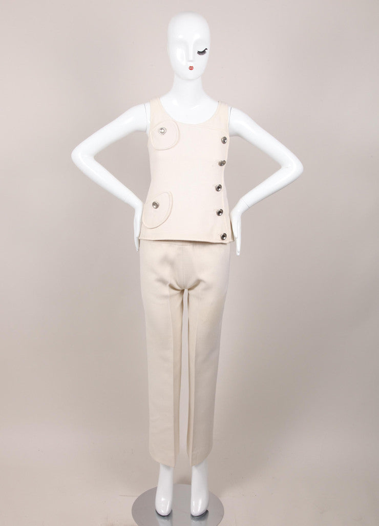 Cream Buttoned Sleeveless Top and Pants Set