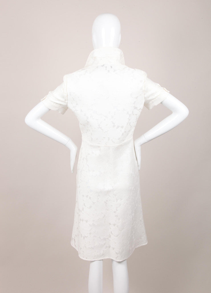 New With Tags White Floral Embroidered Cotton Shirt Dress