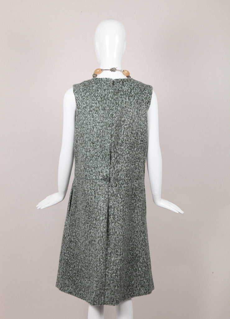 Flecked Wool Mohair Sleeveless Pleated Front Dress