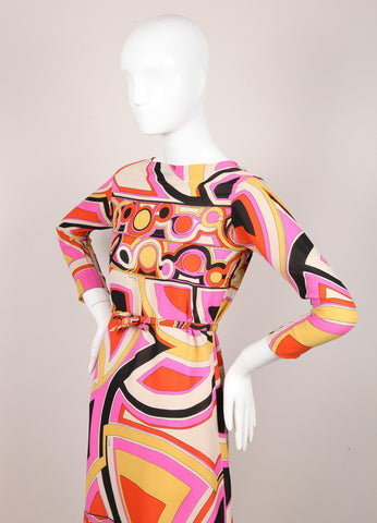 Abstract Pattern Belted Silk Dress