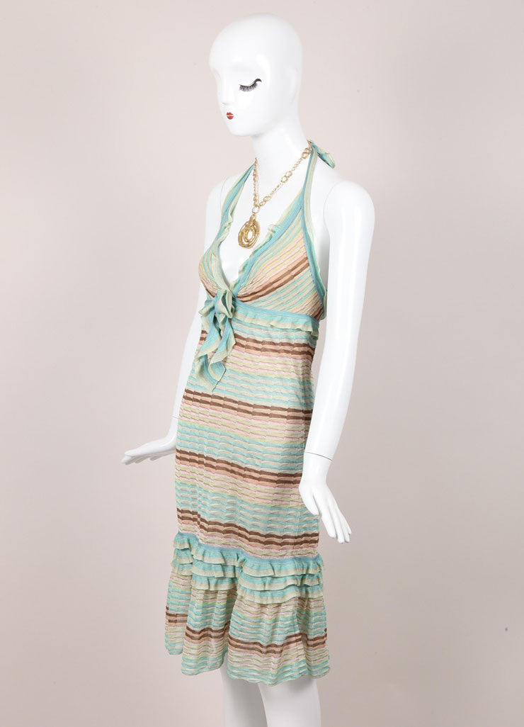 Green and Brown Striped Ruffle Trim Knit Halter Dress