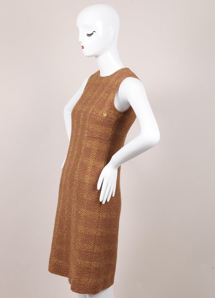 Sleeveless Wool Tweed Sheath Dress