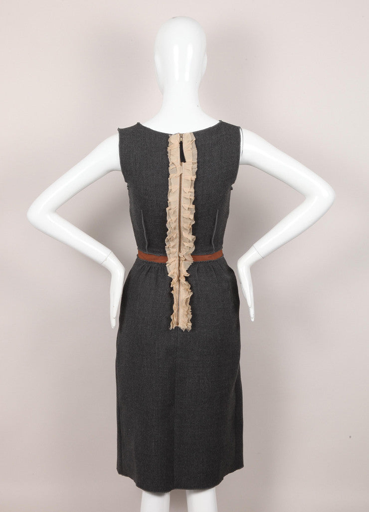 New With Tags Brown and Grey Ruffle Trim Sleeveless Dress