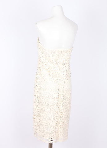Cream Michael Kors Floral Lace Strapless Dress Back