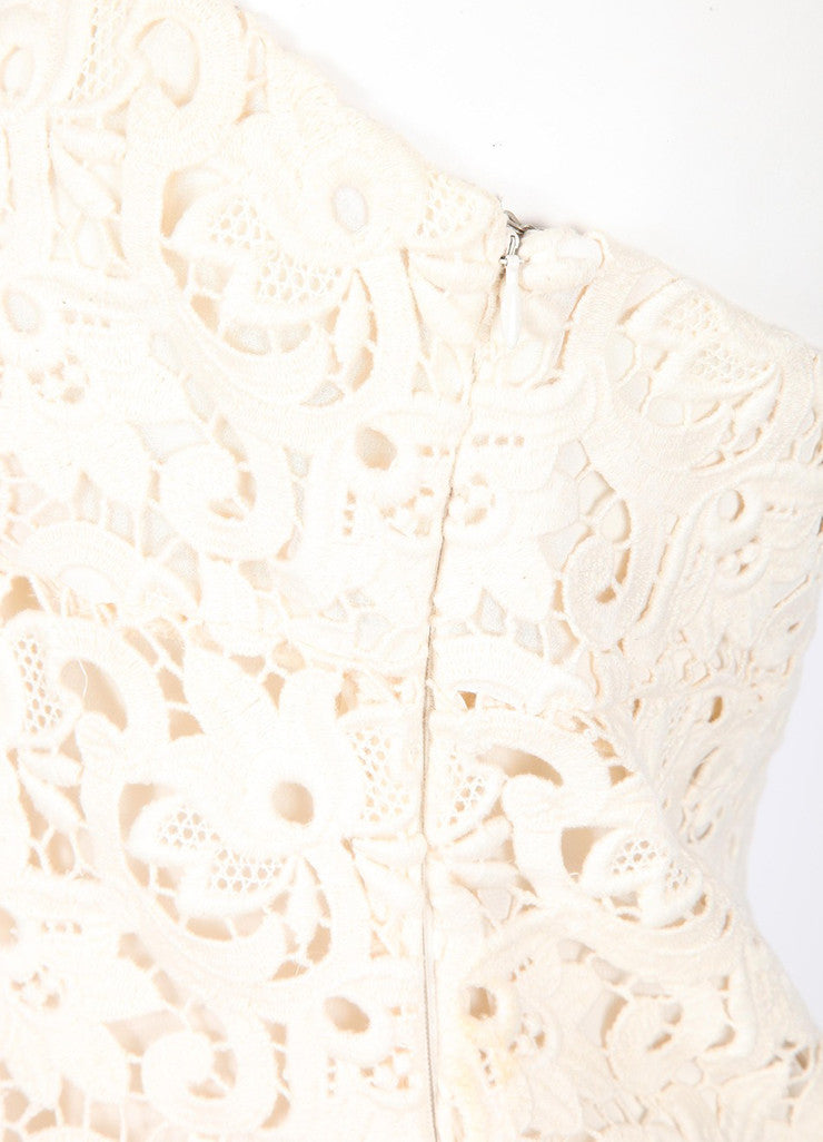 Cream Michael Kors Floral Lace Strapless Dress Detail