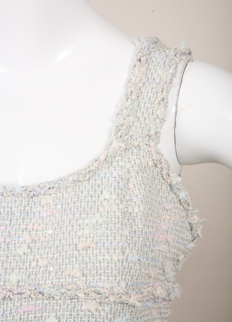 Chanel Light Blue, Pink, and Green Sequin Tweed Sleeveless Sheath Dress Detail
