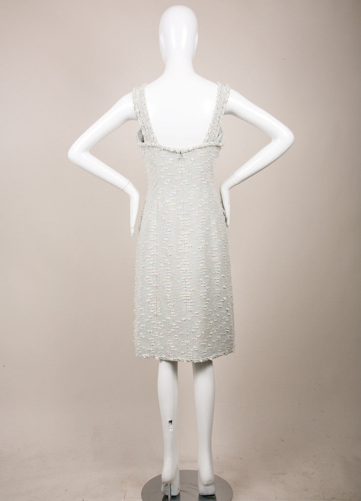 Chanel Light Blue, Pink, and Green Sequin Tweed Sleeveless Sheath Dress Backview