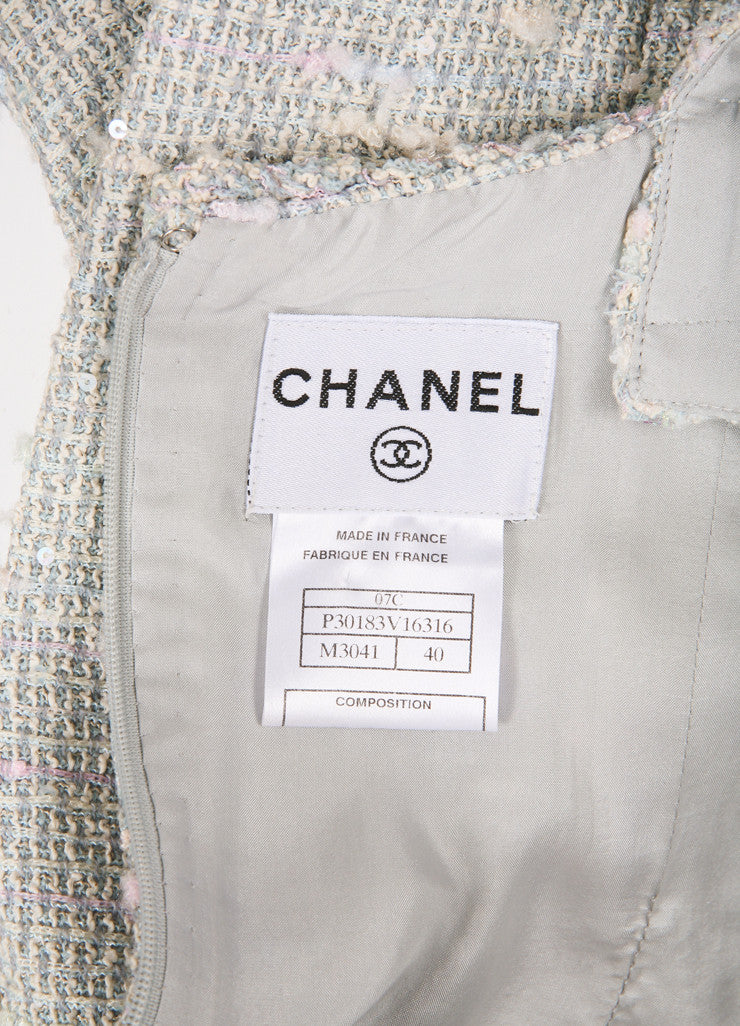 Chanel Light Blue, Pink, and Green Sequin Tweed Sleeveless Sheath Dress Brand