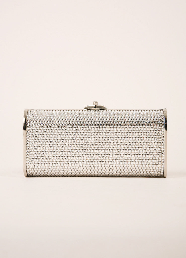 Judith Leiber Silver Toned and Clear Crystal Rhinestone Embellished Small Clutch Frontview