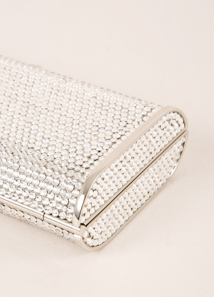 Judith Leiber Silver Toned and Clear Crystal Rhinestone Embellished Small Clutch Detail