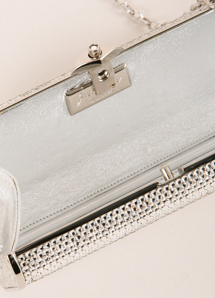 Judith Leiber Silver Toned and Clear Crystal Rhinestone Embellished Small Clutch Interior
