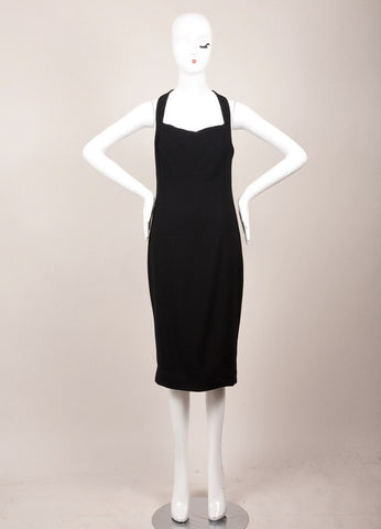 Chanel Black Wool Open Back Sleeveless Sheath Dress Frontview