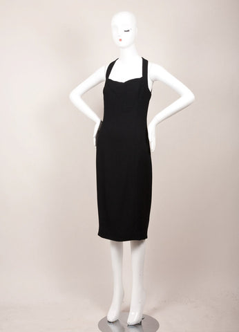 Chanel Black Wool Open Back Sleeveless Sheath Dress Sideview