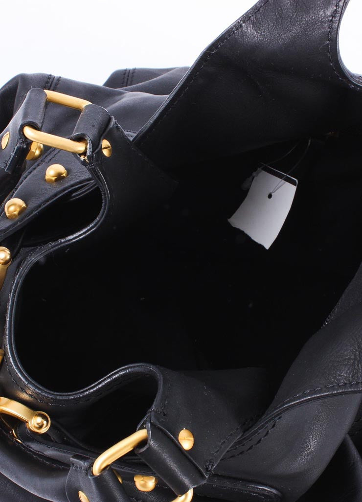 Black Leather Buckle Tote With Gold Toned Hardware