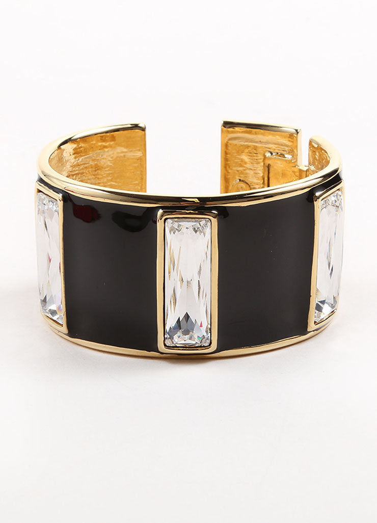 "Kenneth Jay Lane Gold Toned and Black Enamel Stone ""Hobe Sound"" Cuff Bracelet Frontview"