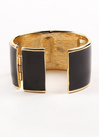 "Kenneth Jay Lane Gold Toned and Black Enamel Stone ""Hobe Sound"" Cuff Bracelet Backview"