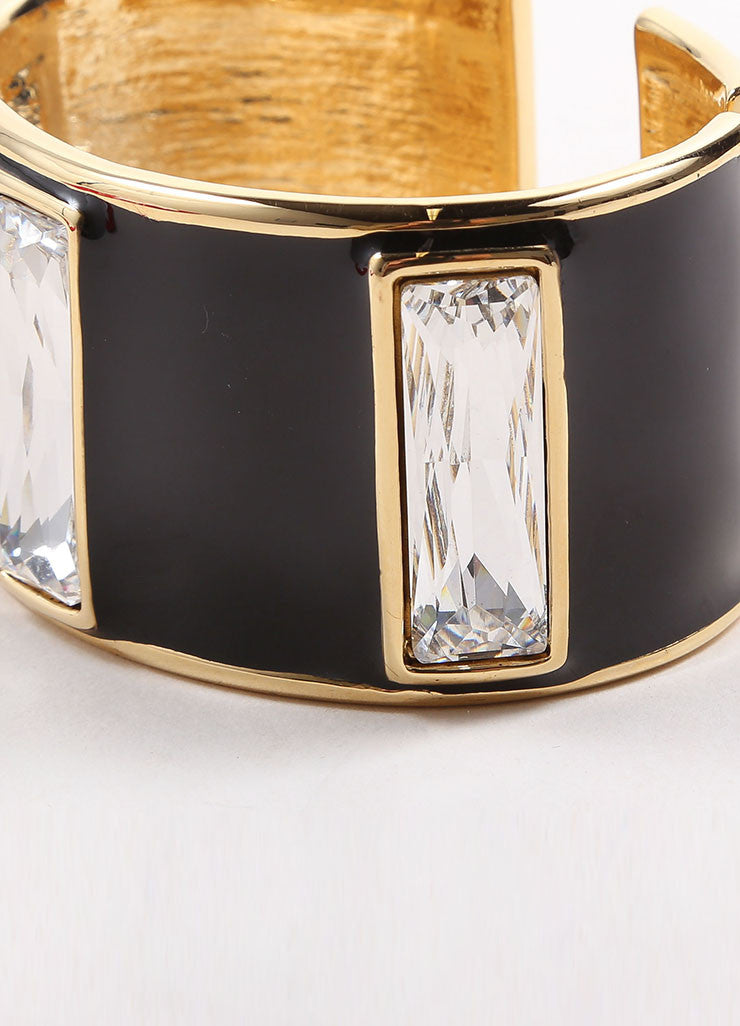 "Kenneth Jay Lane Gold Toned and Black Enamel Stone ""Hobe Sound"" Cuff Bracelet Detail"